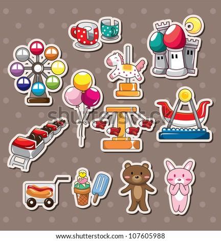 playground stickers - stock vector