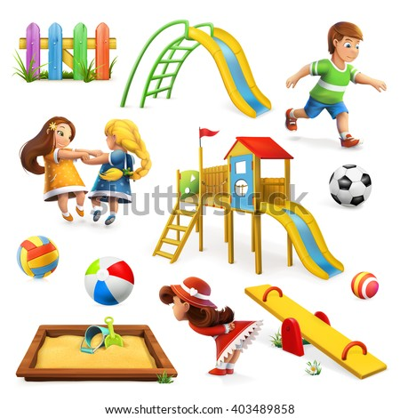 Playground, vector icon set - stock vector