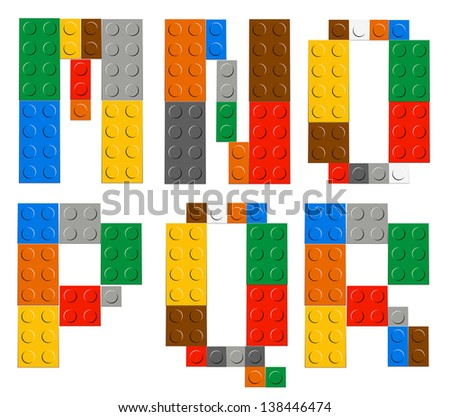 Playing brick toy alphabet letters (M,N,O,P,Q,R) - stock vector
