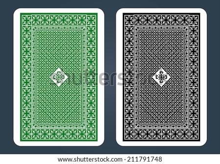 Playing Card Back Designs - Green and black - stock vector
