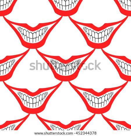 Playing card joker or evil clown smile seamless vector pattern. Creepy, spooky, scary smiles with red painted lips and bared teeth texture. Fool's Day or Halloween funny, irony endless background. - stock vector
