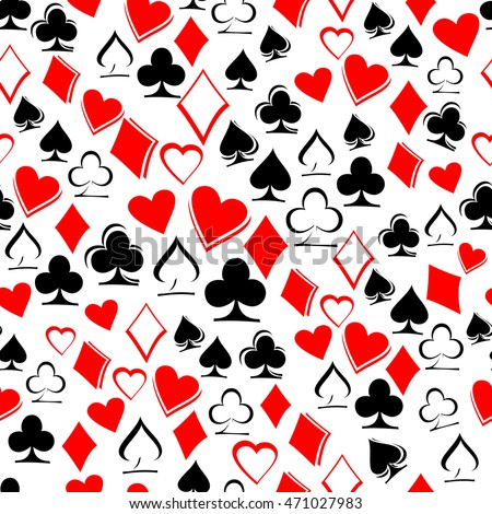 Playing card suits on white background. Seamless pattern. Playing cards. Worms, Bubi, christen, peaks. Alice in Wonderland background, wallpaper. Vector illustration