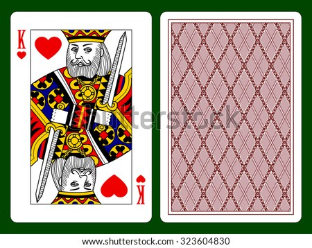 Playing card with a King of hearts and backside background. Vector illustration - stock vector
