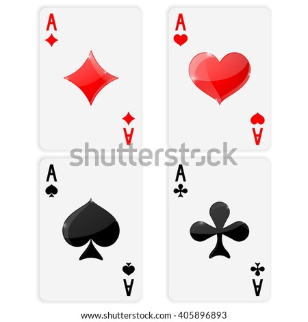 Playing cards. Ace of spades, clubs, hearts, diamonds. Card suits. Vector illustration on white background