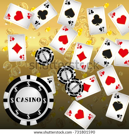 Playing cards and Chips falling on gold background. Vector illustration.