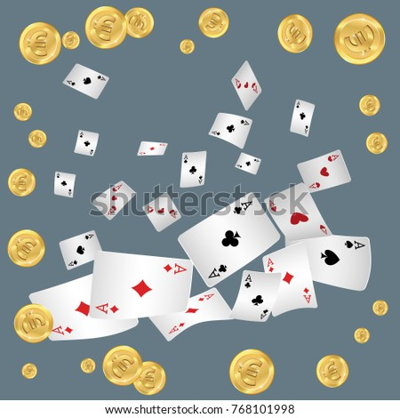 Playing cards and money falling on gray background. Vector illustration