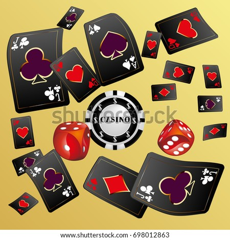 Playing Cards and red dice. Vector illustration