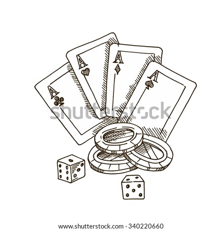 Playing cards, chips, dice. The game of poker. - stock vector