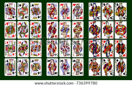 Playing Cards, Classical Style Design. Set Of Portraits Of The King, Queen  And