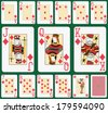 Playing cards diamond suit, joker and back. Faces double sized. Green background in a separate level  - stock
