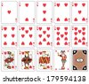 Playing cards heart suit, joker and back - stock