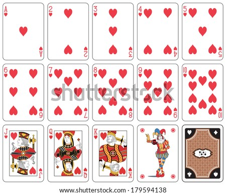 Playing cards heart suit, joker and back - stock vector