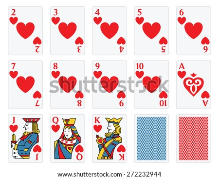 Playing Cards - Hearts Set  - stock vector