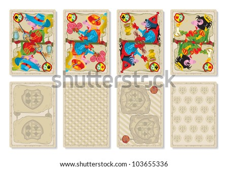 Playing cards. Medieval Europe. Queen. 4 suits, vector