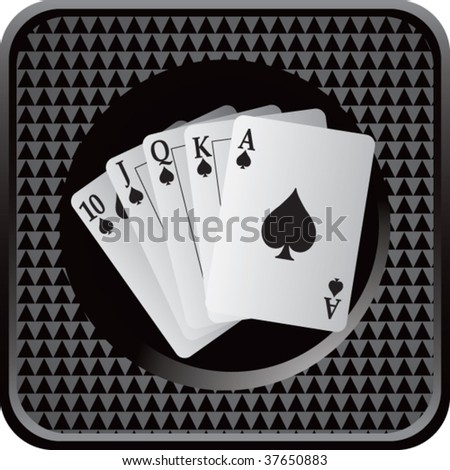 playing cards on black square web button - stock vector