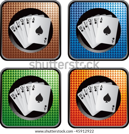 playing cards on colored checkered web buttons