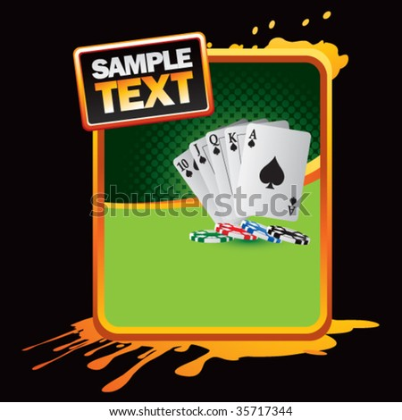 playing cards on orange splatter background