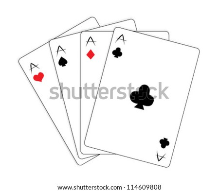 Playing cards over white background - stock vector