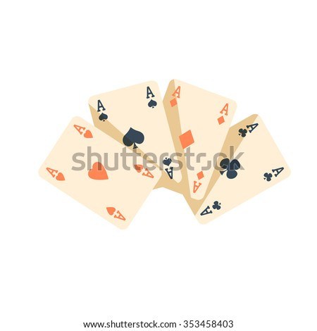 Playing Cards Poker vector icons flat design excitement isolated concept