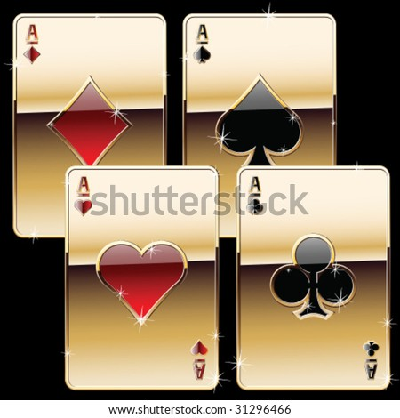 playing cards pure gold style - stock vector
