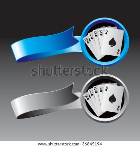playing cards ribbon banners colored blue