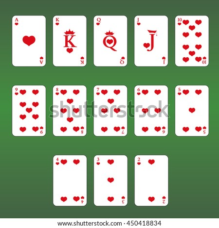 Playing cards. Set of  Hearts