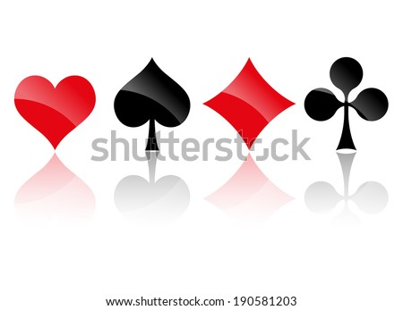 Playing cards symbols with Reflection