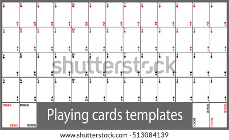 Playing Cards Template Set Stock Vector 513084139 - Shutterstock