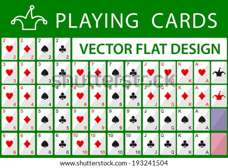 Playing cards. Vector flat game design for app - stock vector