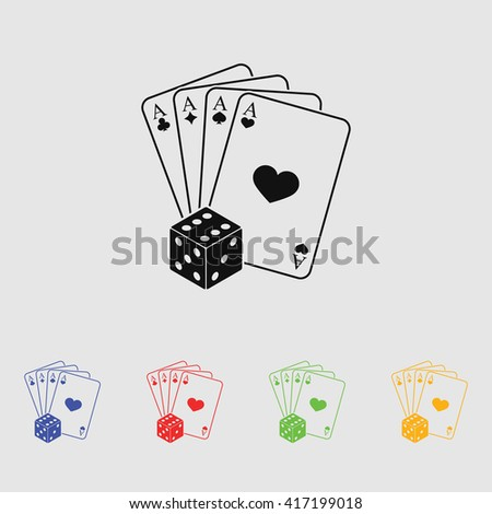 playing cards with dice vector icon