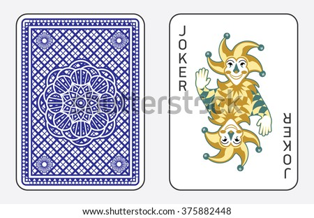 Playing cards with the Joker from a deck of playing cards. Vector illustration, classic design.  - stock vector