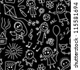 Playing children. Black and white seamless pattern. - stock photo