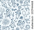 Playing children on math paper. Vector seamless pattern. - stock vector