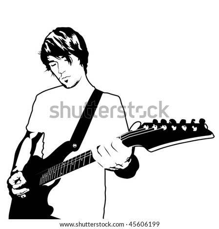 playing electric guitar vector illustration - stock vector