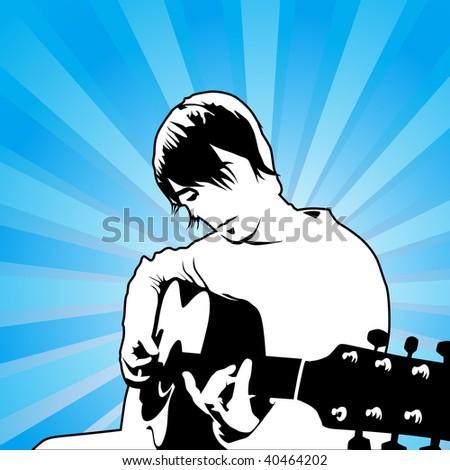 playing guitar vector illustration - stock vector
