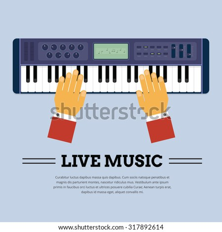 Playing Keyboard player from the top showing player hand - stock vector
