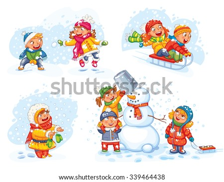 Playing outdoor. Children sledding. Boy and girl playing in snowballs. Schoolchildren making the snowman. Girl trying to catch snowflakes with her tongue. Funny cartoon character. Vector illustration. - stock vector