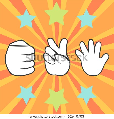 Playing Rock Paper And Scissors Game Gambling Artwork - Vector