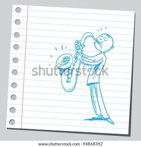 Playing saxophone - stock vector