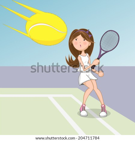 Playing tennis, waiting for  tennis ball, vector illustration. - stock vector