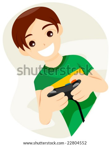 Playing Video Game - Vector - stock vector