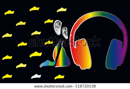 pleasure from music in night - stock vector