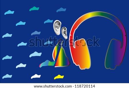 pleasure from music in rainbow - stock vector