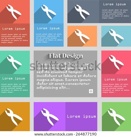 pliers icon sign. Set of multicolored buttons. Metro style with space for text. The Long Shadow Vector illustration - stock vector