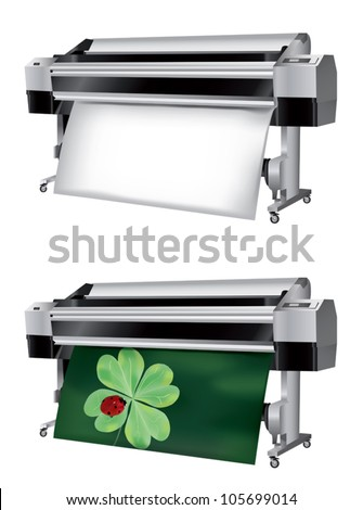 Plotter with roll of paper not printed and printed with ladybug on trefoil - stock vector