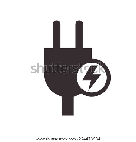 Plug and high voltage sign isolated on white background - stock vector