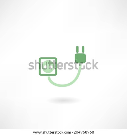 plug and socket icon - stock vector