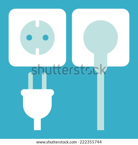 Plug and socket icon on blue background - stock vector