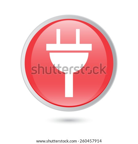 plug icon electricity sign. red glossy button. - stock vector