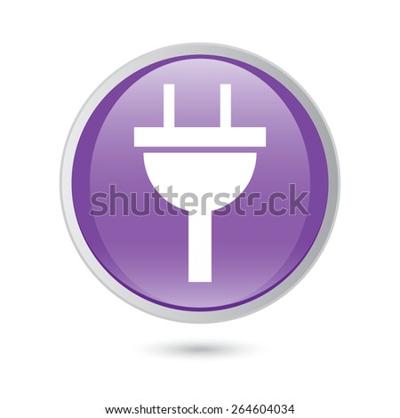 plug icon electricity sign. violet glossy button. - stock vector